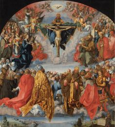 Allerheiligenbild/The Adoration of the Trinity, 1654, Albrecht Dürer; the heavenly saints (with distinguishing symbolic attributes) are depicting adoring the Holy Trinity in the form of the Mercy Seat. (Kunsthistorisches Museum Vienna)