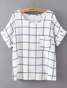 White and Blue Short Sleeve Plaid Pocket T-Shirt