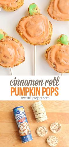 These cinnamon roll pumpkin pops are super easy, really quick to make, and kids absolutely LOVE them! This is such a fun dessert or snack idea for Halloween or Thanksgiving! You can whip up a batch in less than 20 minutes! Cinnamon Roll Dough, Pumpkin Cinnamon Rolls, Cinammon Rolls, Snack Recipes, Dessert Recipes, Halloween Food For Party, Halloween Crafts, Yellow Food Coloring, Thanksgiving Treats