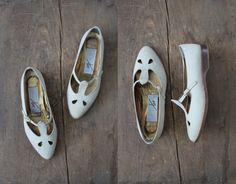 mary jane flats / size 6.5 flats / white leather by allencompany