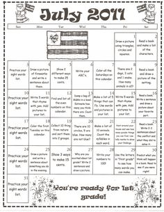 Summer Homework Calendars For Kindergarten  Kids Stuff