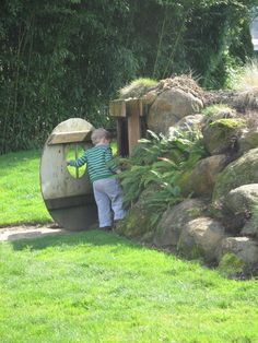 The Children's Garden at the Oregon Garden in Silverton.this would be an awesome excuse for a hobbit house.it's for Ava Oregon Garden, Natural Landscaping, The Hobbit, Hobbit Hole, Unique Gardens, Fairy Land, Earth Day, Water Garden, Play Houses
