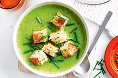 Pea and broccoli soup with grilled cheese sandwich croutons