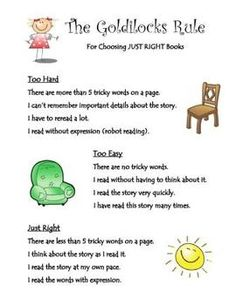 "A cute poster to remind students how to choose ""Just Right"" books"