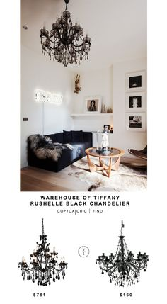 Warehouse of Tiffany Rushelle Balck Chandelier for $781 vs Houzz Opulent Black Chandelier for $160 Copy Cat Chic look for less budget home decor and design