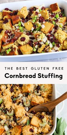 BEST STUFFING EVER! This cornbread stuffing is a healthy gluten free take on a Thanksgiving classic. You're going to LOVE this simple delicious recipe! Gluten Free Stuffing, Gluten Free Cornbread, Side Dishes For Bbq, Healthy Side Dishes, Gluten Free Recipes, Vegetarian Recipes, Healthy Recipes, Stuffing Recipes For Thanksgiving, Thanksgiving Videos