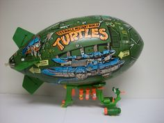 The Turtle Blimp, an inflatable aerial transport used by the Teenage Mutant Ninja Turtles