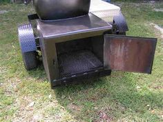 This is the building process that friends and I used to build a 250 gallon reverse flow smoker and put it on a trailer. Bbq Smoker Trailer, Bbq Pit Smoker, Bbq Grill, Pit Bbq, Custom Bbq Smokers, Custom Bbq Pits, Bar B Que Pits, Homemade Grill, Barrel Stove