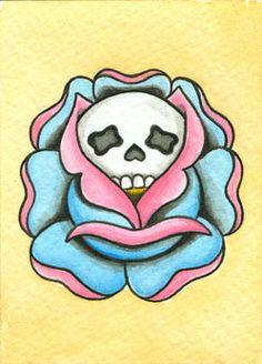 Original, Skull Rose Mini Neo-Traditional, Old School Tattoo Flash Card