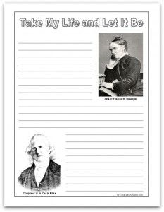 Hymn Study: Take My Life and Let It Be - hymn history, lyrics, sheet music, copywork and notebooking pages, and more