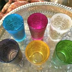 Multi Color Moroccan Tea Glasses. Frosted glass with Gold Paisley and Floral motif, Tea Glass