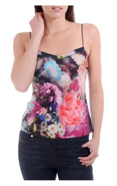 Ted Baker Womens Sacet Floral Printed Cami Top Dark Blue