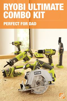 The perfect gift for a serious DIYer, the RYOBI Ultimate Combo Kit is chock-full of 18-Volt lithium-ion tools. Get the job done faster with a compact drill, impact driver, circular saw and reciprocating saw. Click to learn more about this perfect gift for Dad.