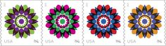 Be careful or these dramatic Kaleidoscope Flowers stamps will utterly mesmerize you! Each of the four stamps depicts the same image in one of four color combinations. And all of them will be coming to a Post Office near you in 2013. You can read more about the stamps at http://beyondtheperf.com/2013-preview/ and pre-order them at http://usps.com/stamps. What do you think of their sleek and modern look?