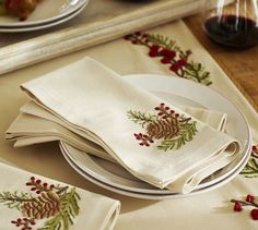 Embroidered Pinecone & Berry Napkins, Set of 4 | Pottery Barn
