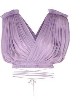 Lilac silk-tulle Ties at side silk Dry clean Blouse Styles, Blouse Designs, Purple Crop Top, Purple Tops, Looks Style, My Style, Look Fashion, Fashion Design, Lolita Fashion