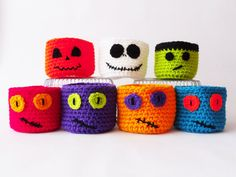 Halloween Decoration / Halloween Crocheted Pots / Pumpkin / Jack Skellington…