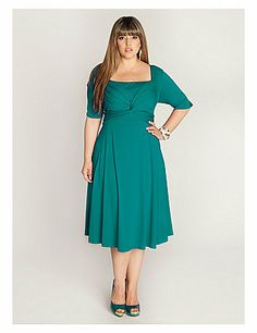 You'll want to put this Tiffany Dress in heavy rotation this season clean lines that shape an on-trend A-line silhouette and a dazzling jade hue. Pair this beauty with silver or blue pumps or strappy flats and a colorful tote. sonsi.com