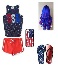 """""""If you would wear this outfit your crazy for America and for the 4th of July! Enjoy your holiday!"""" by sloanesmile on Polyvore"""