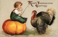 vintage autumn postcards   Vintage Victorian Postcard of Child on a Pumpkin with a Turkey   The ...