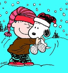 Charlie Brown, Snoopy, and snow