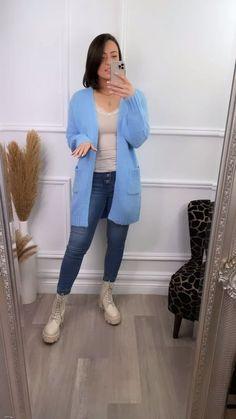 Blue cardigan, longline cardigan, autumn style, cosy cardigan, open front cardigan, autumn fashion