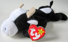 DAISY Ty Beanie Babie Retired 1993 Original Plush Toy Animal Collectible Black White Cow Horns