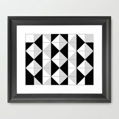 Diamonds and triangles in black and white Framed Art Print by aapshop - $33.00