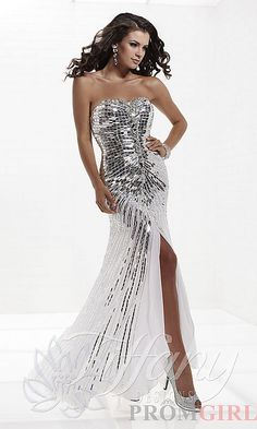 Strapless Sweetheart Sequin Chiffon Gown