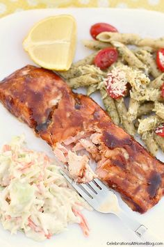 BBQ-Brushed Plank-Grilled Salmon — Celebrations at Home