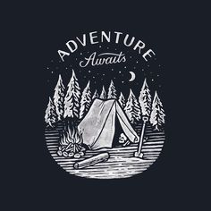 Adventure awaits, ladies and gentlemen! (print for @daybreakerco )    #handdrawn #handlettering #lettering #adventure #camping #skull #typo #print