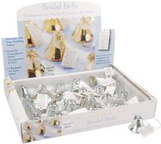 New Wedding Day Favors Bridal Silver Bells Table Setting Ring the Bell To Kiss
