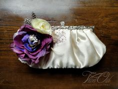Bernadette-Purple and Champagne Bridal clutch purse by VelvetOwl on Etsy!