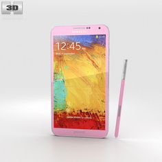 Samsung Galaxy Note 3 Pink 3d model from humster3d.com. Price: $40