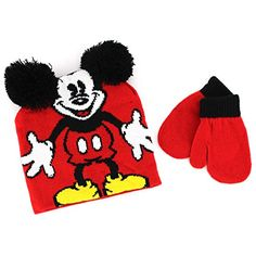 Disney Junior Mickey Mouse Black Knit Boys Winter Mittens