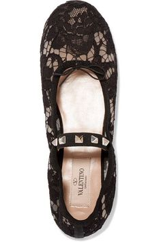 Valentino | Studded corded lace flats | NET-A-PORTER.COM