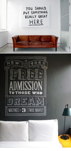 Love the chalk art in the bottom picture!  Art work by: Dana Tanamachi.    The picture is located at: The Ace Hotel, New York City; Room 1021