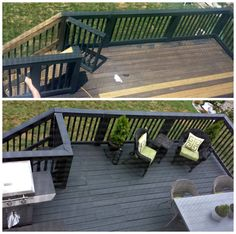 Neat idea for back deck.Before & After: Two-Story Black Slate Stain Deck & Repair NC) Deck Stain Colors, Deck Colors, House Colors, Grey Deck Paint, Black Deck, Black Pergola, White Deck, Deck Repair, Deck Makeover