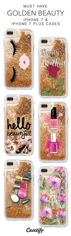 Must Have Golden Beauty iPhone 7 Cases & iPhone 7 Plus Cases. More protective liquid glitter iPhone case here > https://www.casetify.com/en_US/collections/iphone-7-glitter-cases#/?vc=yVH7vIinF5