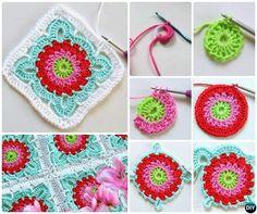 Crochet Patroon Granny Square Flower Blanket Free Pattern
