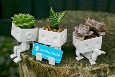 3dprinted Cute Robot Succulent Planter  Sitting Robbie the Robot Planter sitting.  How will you personalize cute Robbie the robot planter by styling