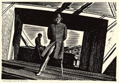 Moby Dick, by Herman Melville, illustrated by Rockwell Kent vol. 236 (The Quarter-Deck) Rockwell Kent, Melville Moby Dick, Captain Ahab, Nobel Prize In Literature, White Whale, Online Painting, Nantucket, American Artists, Cool Art