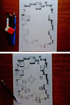 Creative Drawing Clever Notebook Art from a Artist - João A. Carvalho challenges your perceptions and creates incredible three-dimensional drawings that leap out of the page at you. Notebook Art, Notebook Paper, Notebook Doodles, Illusion Kunst, Illusion Art, 3d Art Drawing, Love Drawings, Drawing Tips, Drawing Ideas