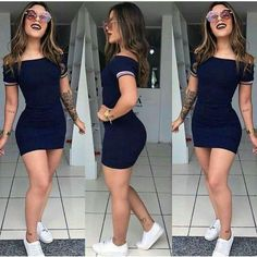 2019 Summer Women Fashion Plus Size Off The Shoulder Bodycon Dress Women Boat Neck Short Sleeve Casual Dress Women's Summer Fashion, Runway Fashion, Girl Fashion, Fashion Tape, Fashion 2018, Cute Casual Outfits, Casual Dresses, Summer Outfits, Dress Outfits