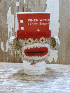 Sock Monkey Coffee Cozy