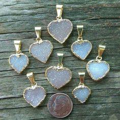 Petite Snow Druzy Heart Pendant by KEEPINITZEN on Etsy https://www.etsy.com/listing/216731077/petite-snow-druzy-heart-pendant