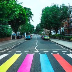 "6/1/2017 Abbey Road Studios: ""Look what some crazy fans did to our crossing this morning! Compliments the Sgt. Pepper wall perfectly."""