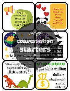 Printable Conversation Starter Cards Start Set of 6 by Mom2MomEd