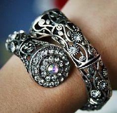 BLING! Silver rhinestone coil wrap bracelet w/ AB stone accent! New!