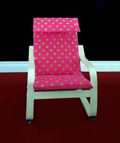 IKEA KIDS POÄNG Cushion Slipcover Hot Pink Lime Polka Dot By  RockinCushions. So Fun And